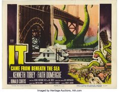 """Movie Posters:Science Fiction, It Came From Beneath the Sea (Columbia, 1955). Lobby Cards (4) (11""""X 14""""). A six-legged giant octopus gets a little too cli... (Total:4 Items)"""