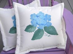 "Outdoor pillow HYDRANGEA 20"" gardener gardening flower green thumb tree painted garden patio deck Cr"