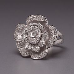 Sterling Silver Diamond Flower Ring by Lenox