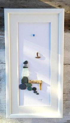 Pebble art Lighthouse BIG  GIFT Pebble art coastCoastal Sea Glass Crafts, Sea Glass Art, Lighthouse Gifts, Pebble Pictures, Beach Gifts, Beach Rocks, Home Living, Beach Art, Unique Home Decor