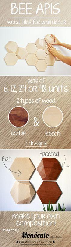 Bee Apis, wood tiles for wall decor by Monoculo Design Studio #walldecor #tiles #wood