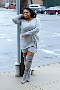 target athleisure, sweatshit dress, how to do athleisure, how do you do athleisure, plus size style, sweater dress with suede OTK boots