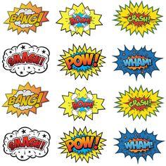"Amazon.com: Large Cardboard Superhero Word Cutouts (Size: 17"" X 13"") - 12 Pcs: Toys & Games"