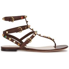 Womens Flat Sandals Valentino Rockstud Brown Leather Sandals ($965) ❤ liked on Polyvore featuring shoes, sandals, brown leather shoes, brown leather sandals, flat pumps, ankle strap sandals and flat leather sandals