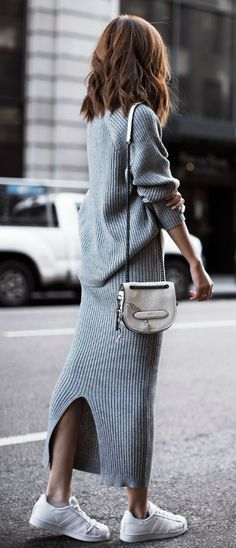 Jenny Tsang wears a gorgeous grey two piece with classic Adidas Superstars. Knitted Set: Few Moda, Bag: Coach, Sneakers: Adidas.
