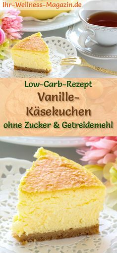 Low Carb Vanille-Käsekuchen – Quarkkuchen-Rezept ohne Zucker Fluffy cheesecake with vanilla: Simple, fast low-carb recipe for creamy vanilla quark cake, without sugar and cornmeal; healthy, light, calorie-reduced and simply delicious # cheesecake Fast Dessert Recipes, Cake Recipes, Snack Recipes, Baking Recipes, Diet Recipes, Jello Recipes, Healthy Low Carb Recipes, Low Carb Desserts, Healthy Snacks
