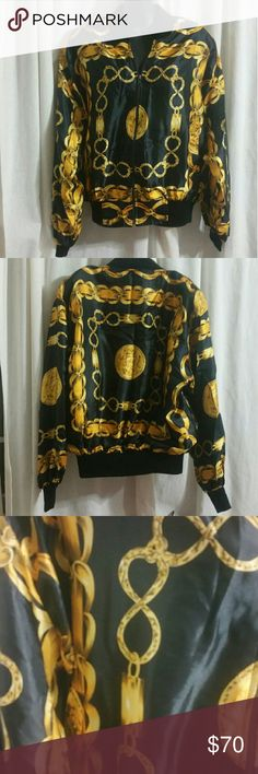 Black Gold Bomber Jacket Chain link RETRO VINTAGE Super rare 80's retro silk bomber jacket with gold chain link design on black background.  Very similar to the style of CC but with out the price tag and logos.   No size tag.  Would fit medium/large.   In excellent condition. Vintage Jackets & Coats