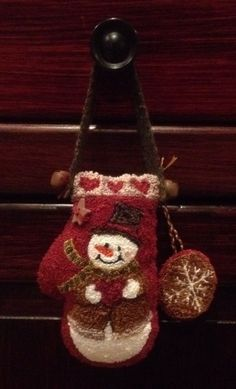 Primitive Punch Needle Snowman Mitten~Snowflake Ornament~Hand Made~Rusty Bells #NaivePrimitive