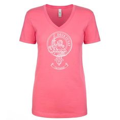Ladies V neck 100% cotton t-shirt with clan crest tastefully printed in an outline style....