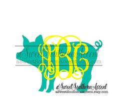 Monogram PIG Decal for car laptop cup cell by aSweetSouthernAccent