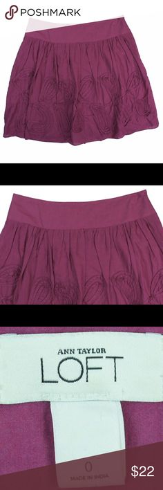 """ANN TAYLOR LOFT Rose Pink Flippi Embroidered Skirt Excellent condition! This rose pink cotton flippi skirt from Ann Taylor Loft features embroidered detail, a drop waist, and side zip closure. Fully lined. Made of 100% cotton. Adorable! Measures: Waist: 27"""", Hips: 39"""", Total Length: 18.5"""" LOFT Skirts"""