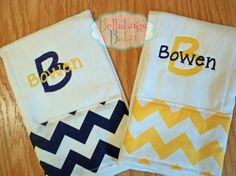 Set of 2 Yellow and Navy Chevron Personalized Monogrammed Baby Burp Cloth...Perfect for a Baby Boy