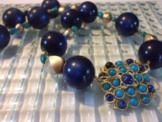 Chunky Navy Blue Necklace Turquoise Gold Necklace by mscenna, $25.00
