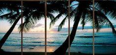 Aliexpress.com: Compre 5119 pintado à mão 5 peça moderna paisagem pintura a óleo sobre tela seascape praia e palmeira parede imagem para casa decora de confiança fornecedor de pintura de arte fornecedores em Art of Fire