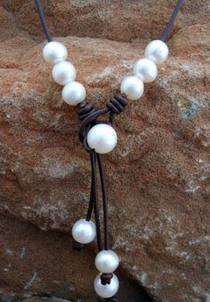 Reversible Leather and Pearl Necklace. by kimlanedesigns on Etsy