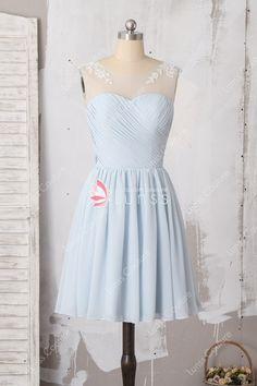 1b367851950 Beautiful Lace Appliqued Cap Sleeve Light Blue Chiffon Short Bridesmaid  Dress