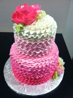 Ombre ruffle buttercream cake from The White Flower cake Shoppe