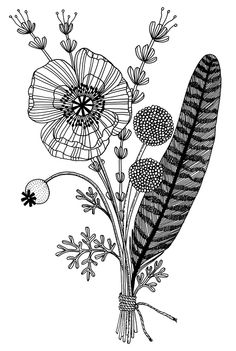Bouquet with Feather illustration Feather Bouquet, Bouquet Tattoo, Poppy Bouquet, Feather Art, Doodle Drawings, Doodle Art, Illustration Art, Illustrations, Feather Illustration