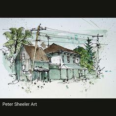 Resultado de imagen para watercolor architecture sketch