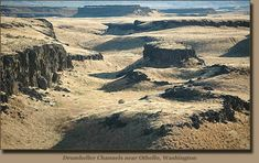 """The Columbia Basin's """"Channeled Scabland"""" was created where the Ice Age floods accelerated across the tilted surface of the Palouse slope, causing massive erosion. Much of the eroded sediment was carried all the way to the Pacific Ocean."""
