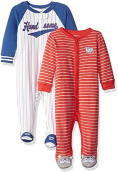 Carters Boys 2Pack Cotton Sleep and Play Red StripeWhite Sports 6 Months ** See this great product.Note:It is affiliate link to Amazon.