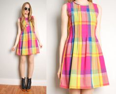 vintage 80s dress magenta pink madras rainbow by huncamuncavintage, $34.00