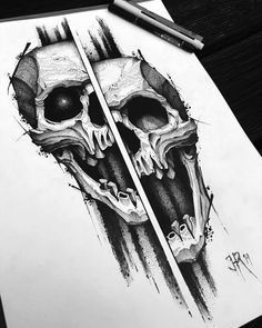 New hand drawing. Spend about 6 hours on this one. Having a blast with these! Hope you guys dig them aswell. Up for tattooing, let me… Tattoo Sketches, Tattoo Drawings, Cool Drawings, Art Sketches, Skull Tattoo Design, Skull Tattoos, Body Art Tattoos, Totenkopf Tattoos, Skull Artwork