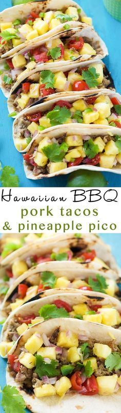 Hawaiian BBQ Pork Tacos are filled with crispy, spiced pork and topped with an irresistible and juicy Pineapple Pico de Gallo! The ideal summer street taco!