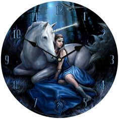 Under the light of a blue moon, the enchanted forest awakens its magic. The beautiful maiden and her unicorn friend arise from their slumber. The Blue Moon Cards 6 Pack depicts this fantasy scene from the artwork of Anne Stokes. Anne Stokes, Fantasy Unicorn, Magical Unicorn, Beautiful Unicorn, Clydesdale, Dark Fantasy, Dragons, Lenticular Printing, Mystical Animals