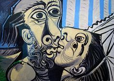 """Pablo Picasso - """"Le Baiser (The Kiss)"""". 1969 The de Young opened its latest stellar exhibition on Saturday, celebrating the work of Pablo Picasso. Pablo Picasso Cubism, Kunst Picasso, Art Picasso, Picasso Drawing, Picasso Paintings, Oil Paintings, Georges Braque, Tomie Ohtake, Kiss Painting"""