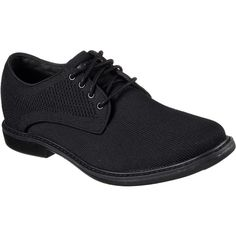 Skechers Men's Maas Black - Skechers Lace-Up Shoes (£75) ❤ liked on Polyvore featuring men's fashion, men's shoes, men's dress shoes, black, mens black oxford shoes, skechers mens shoes, mens woven shoes, mens black shoes and mens oxford shoes