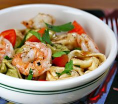 Tortellini shrimp salad: #picnic or first day #camping food! The Whole Foods Market tortellini shrimp salad is another favorite, with artichokes and roasted red peppers!