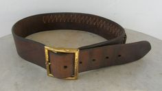 LEATHER CARTRIDGE BELT Signed Hunter 122SM Brown Leather Metal Buckle 25 Loops .22 Caliber Shells 6 Belt Loops Vintage Sm Sz Free Shipping! by OnceUpnTym on Etsy