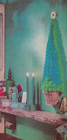 Pom pom tree wall hanging from the 1966 BHG Treasury of Christmas Crafts