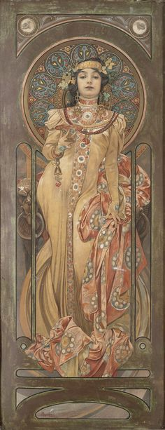 """""""She jeeps moet & chandon, in her prêt t'y cabinet"""".Alphonse Mucha (Czech, 1860 - Poster for """"Moet & Chandon: Dry Imperial"""", Color Lithograph, 60 x 20 cm. Design Art Nouveau, Art Nouveau Poster, Art Design, Art Nouveau Mucha, Moet Chandon, Art Vintage, Vintage Posters, Art Posters, Modern Posters"""