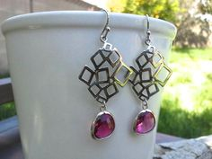 Fuchsia Crystal Drop Silver Earrings Pink by MiaCocoDesigns, $25.00