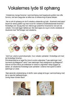 Dette materiale er udarbejdet af Kirsten Bach.  De 9 vokalers grafemer og fonemer med eksempler på vokalernes forskellige fonemer i... Visible Learning, Teaching, Education, School, Sprog, Inspiration, Danish Language, First Grade, Biblical Inspiration