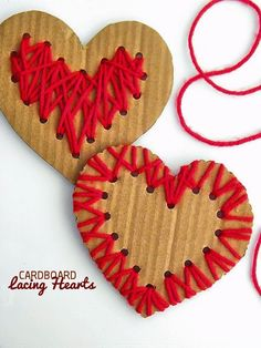 Cardboard Lacing Hearts Valentine's Day Craft
