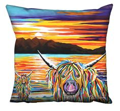 Isla & Arran McCoo Artwork Designed Filled Cushion - Steven Brown Art Stephen Brown, Steven Brown Art, Ocean Activities, Arran, Cushions On Sofa, Artwork Design, Canvas Wall Art, Tapestry
