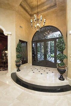Fabulous wrought iron doors and surrounds at entry