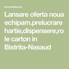 Lansare oferta noua echipam.prelucrare hartie,dispensere,role carton in Bistrita-Nasaud