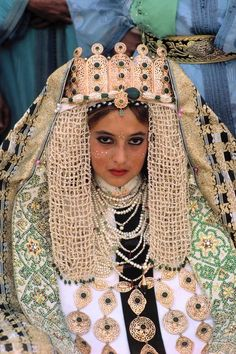Traditional wedding. Bride wearing gold braided robe.1984 Fez Morocco