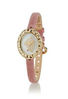 Inject elegance to your style this season with this overtly feminine timepiece. Vintage inspired and beautifully framed, the oval face comes with a mother of pearl finish and the Orb in gold. With a pin and buckle fastening this dainty piece is presented in a Vivienne Westwood gift box and comes with a two year guarantee.