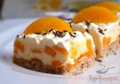 Nusskuchen mit Pfirsichcreme * Einfache Rezepte