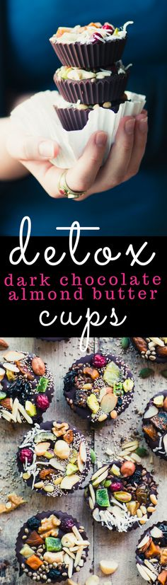 Detox Dark Chocolate Almond Butter Cups ~ do you need a little something sweet every day? Don't wreck your diet with a pint of ice cream or a package of cookies, try one of these healthy dark chocolate almond butter cups. They'll satisfy your cravings wit