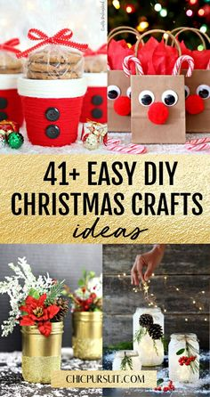 41+ Easy DIY Christmas Crafts & Decorations You Need To Try This Year | Are you wondering how to make handmade Christmas crafts that actually look good enough to sell? These homemade Christmas crafts & gifts are perfect for adults and for kids to make, and include ideas such as diy ornaments, Diy wreaths, diy baubles and other projects. #christmas #crafts #diy #christmascrafts #christmascraftsdiy #decoration #christmasdecorationsdiy #chicpursuit