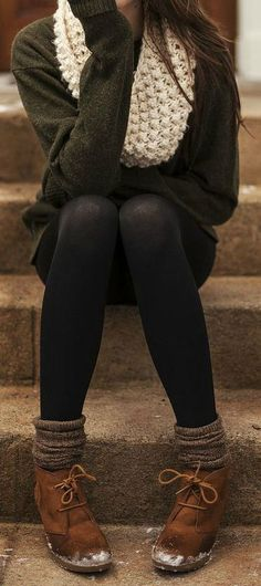 Colored Oversized Sweater. Black Leggings. Socks. Brown Boots. Creme Scarf.