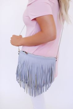 Grey Fringe Purse - Dottie Couture Boutique