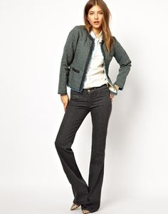 6 Chic Ways to Wear Grey Jeans for Women: With a Textured Jacket for the Office