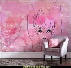 Tink wallpaper mural tinkerbell mural tinkerbell bedroom wall decorations